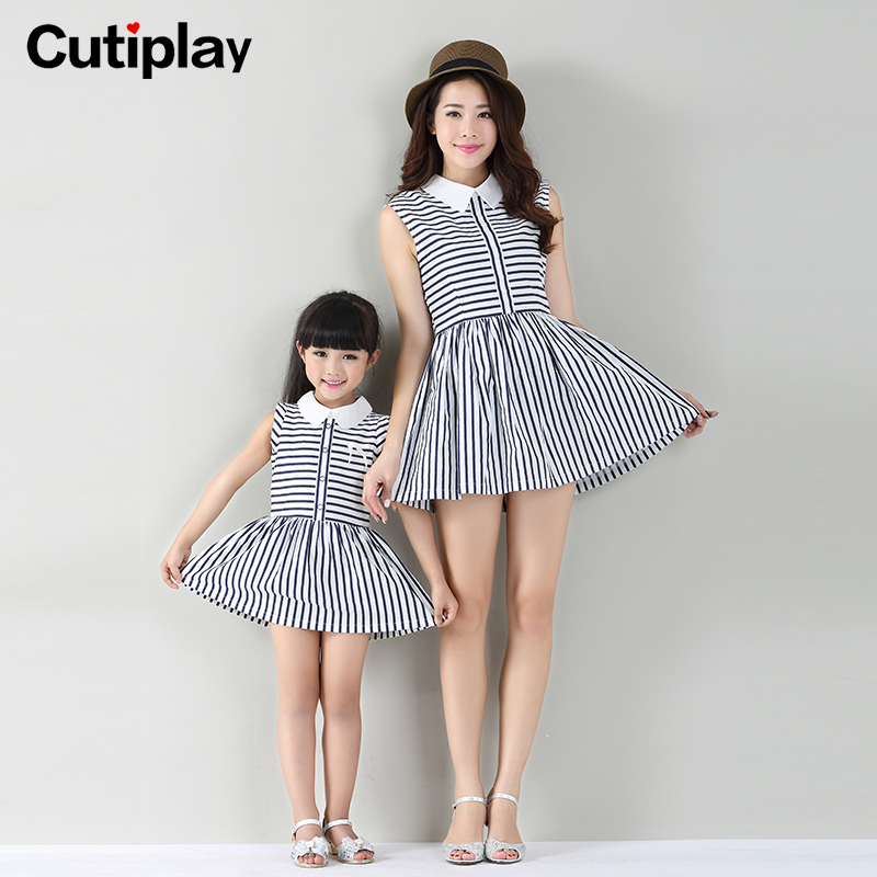 Family fitted 2016 spring and summer new korean girls dress family fitted mother of women dress female summer fashion printing