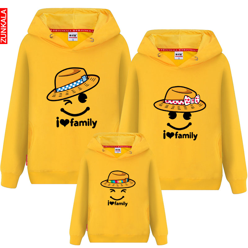 Family fitted spring and autumn 2016 new full decoration mother and installed the korean version of mom and dad hooded sweater treasure