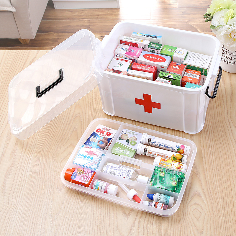 Family medicine cabinet multilayer plastic kits home first aid kit first aid kit for children medical medical small medicine storage box large number