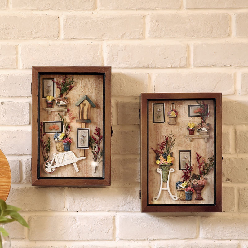 Fan · makeup dimensional painting wall painting antique home decorations european creative three-dimensional wall key box key box