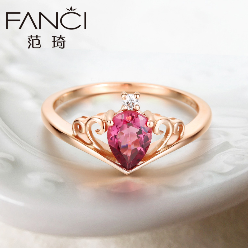 Fan qi k gold ring k gold red tourmaline diamond ring ring female korean fashion rose gold color gold jewelry