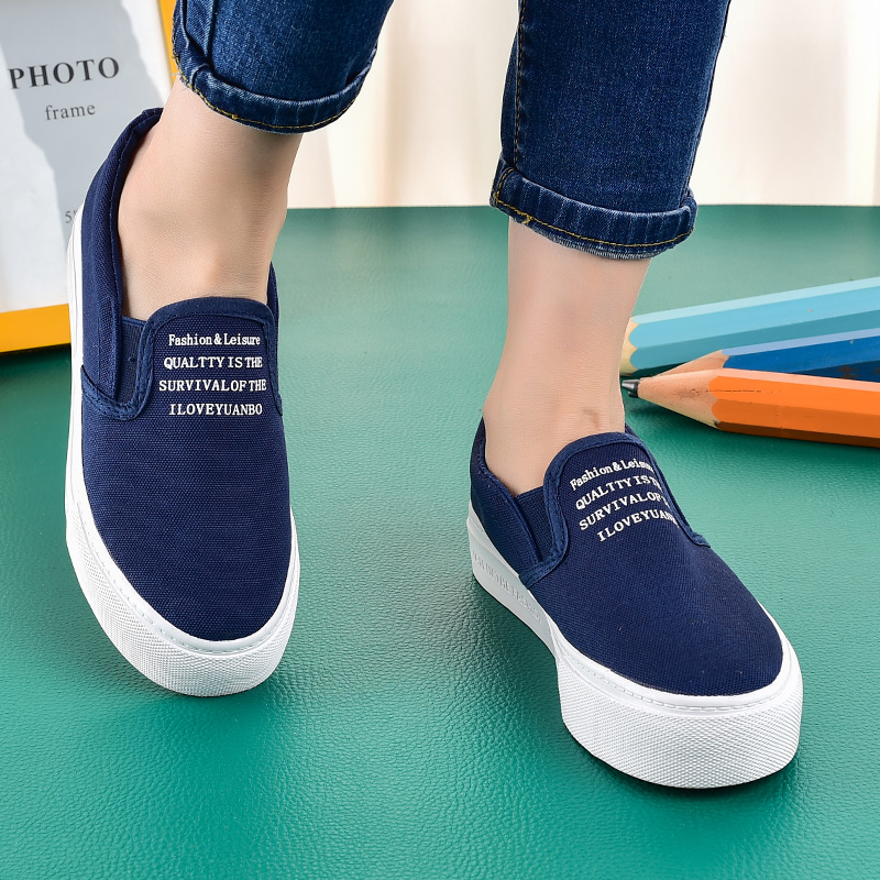 Far wave 2016 new spring and autumn bottomed a pedal sets foot lazy to help low canvas shoes korean version of casual shoes loafers