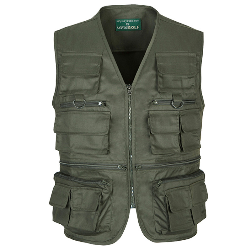 Fashion men's army green vest vest pocket more outdoor ripstop geology of the outdoor leisure vest vest big yards