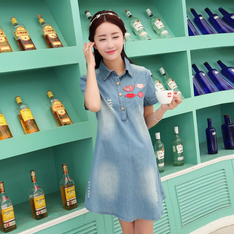 Fashion summer maternity dress pregnant women skirt and long sections loose maternity shirt pregnant women pregnant women denim skirt thin woman