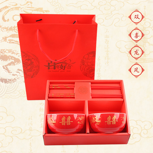 Favor wedding gift ceramic tableware creative suite bainianhaoge double happiness dragon chopsticks gift packaging