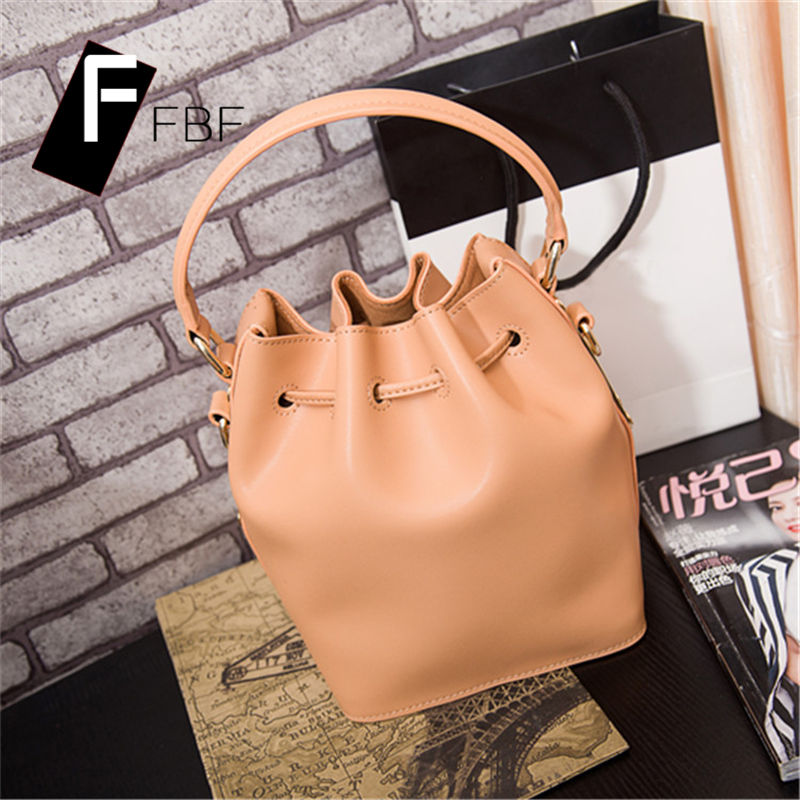 FBF2016 new ms. retro leather ladies solid single shoulder bag drawstring bucket bag the soft 6433