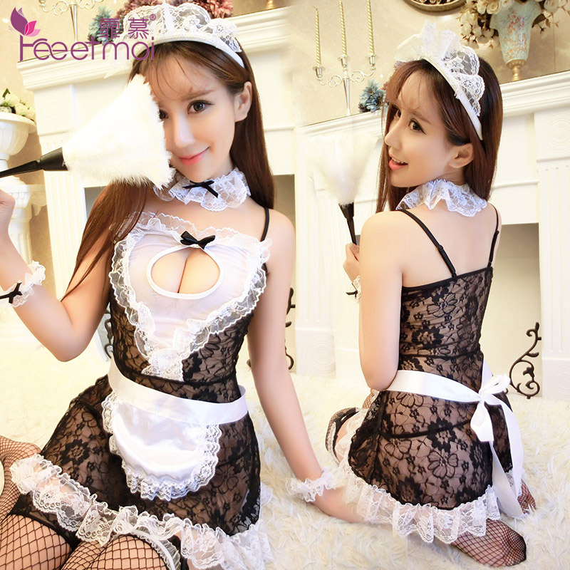 Fei mu sexy lingerie suit sao transparent lace chest a maid maid outfit uniform temptation pajamas 7945