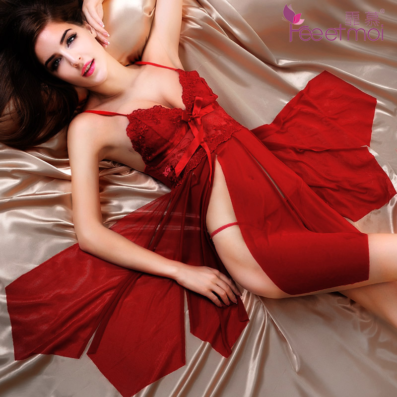 Fei mu spring and summer sling lingerie lingerie female summer big yards transparent sexy lingerie sexy sleepwear temptation ms. lm