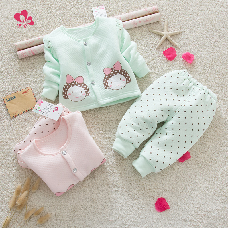 Female baby underwear sets infant autumn and winter thermal underwear bamboo fiber combed cotton baby underwear sets children qiuyi