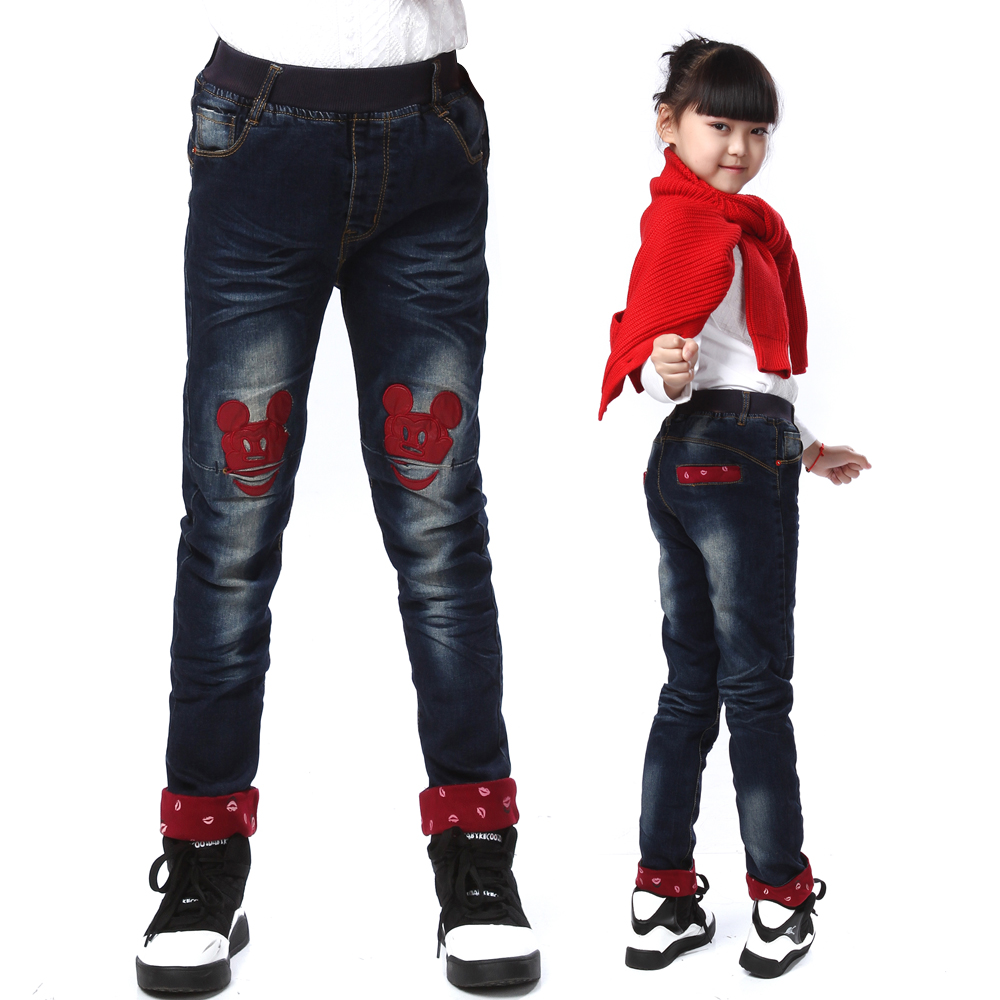 Female big boy jeans 2016 spring models girls jeans trousers children pants little feet pants kids