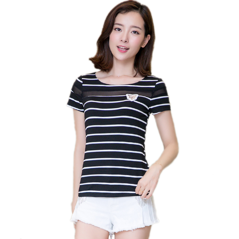 Female summer simple striped t-shirt blouse short sleeve t-shirt female summer slim black and white striped t-shirt female tide