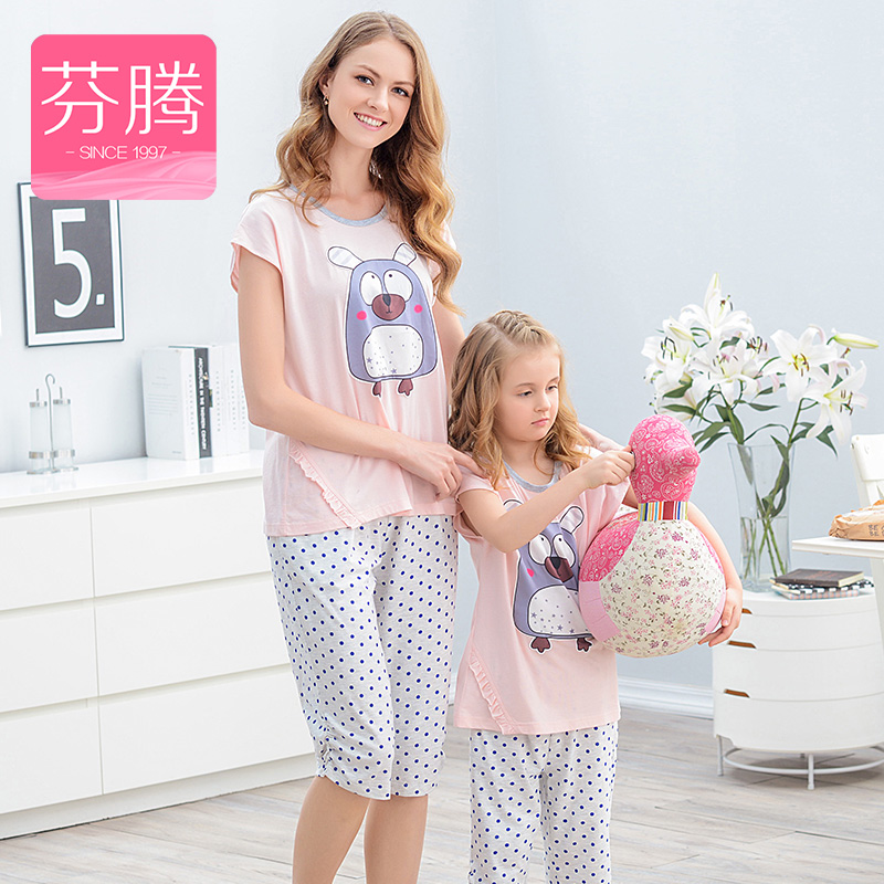 Fen teng 2016 new knitted cotton pajamas parenting summer thin short sleeve tracksuit suit cartoon female girls