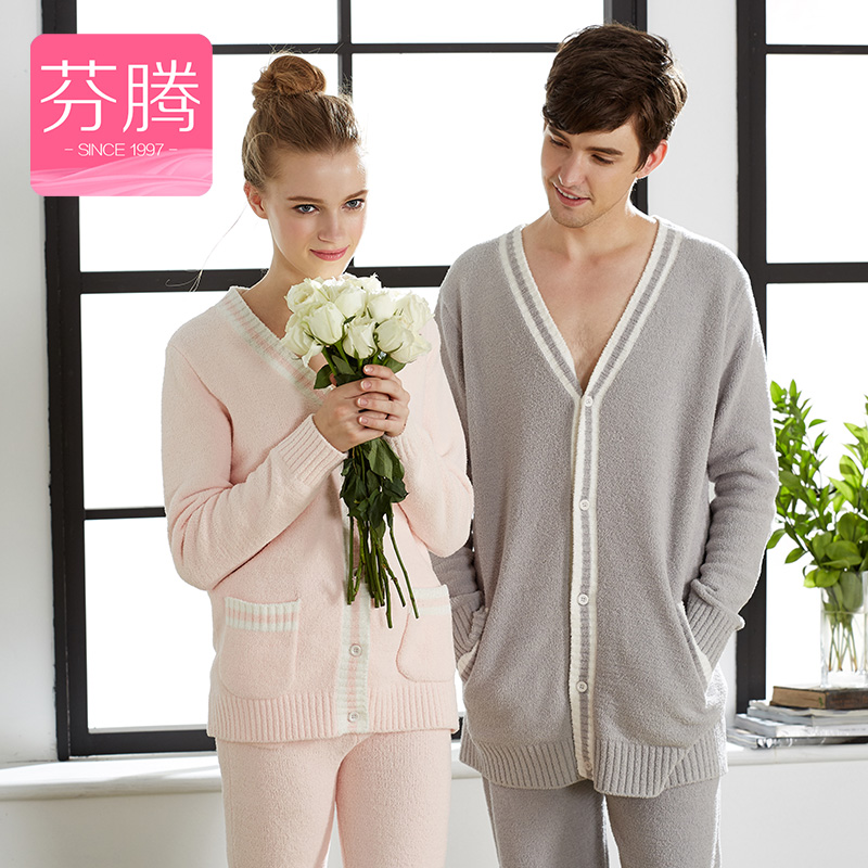 Fen teng coral velvet pajamas female winter 2016 new autumn and winter lovers thick cardigan sweater plus velvet suit tracksuit men