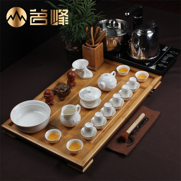 Feng ming blue and white jade porcelain tea set ceramic tea sets bamboo tea tray entire bone china tea electromagnetic stove
