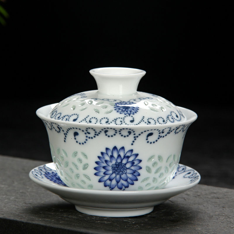 Feng ming kung fu tea ceramic tea exquisite porcelain blue and white ceramic tureen tureen bowl with god kung fu tea tea prepared