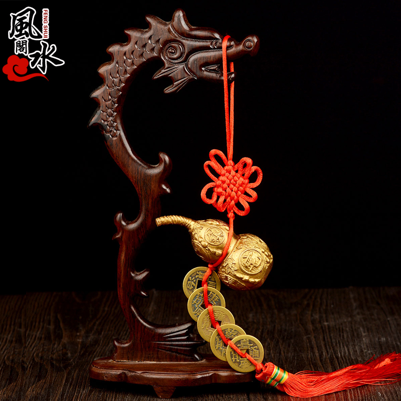Feng shui court opening copper five emperors money gourd feng shui ornaments ornaments home decorations with leading mahogany shelf
