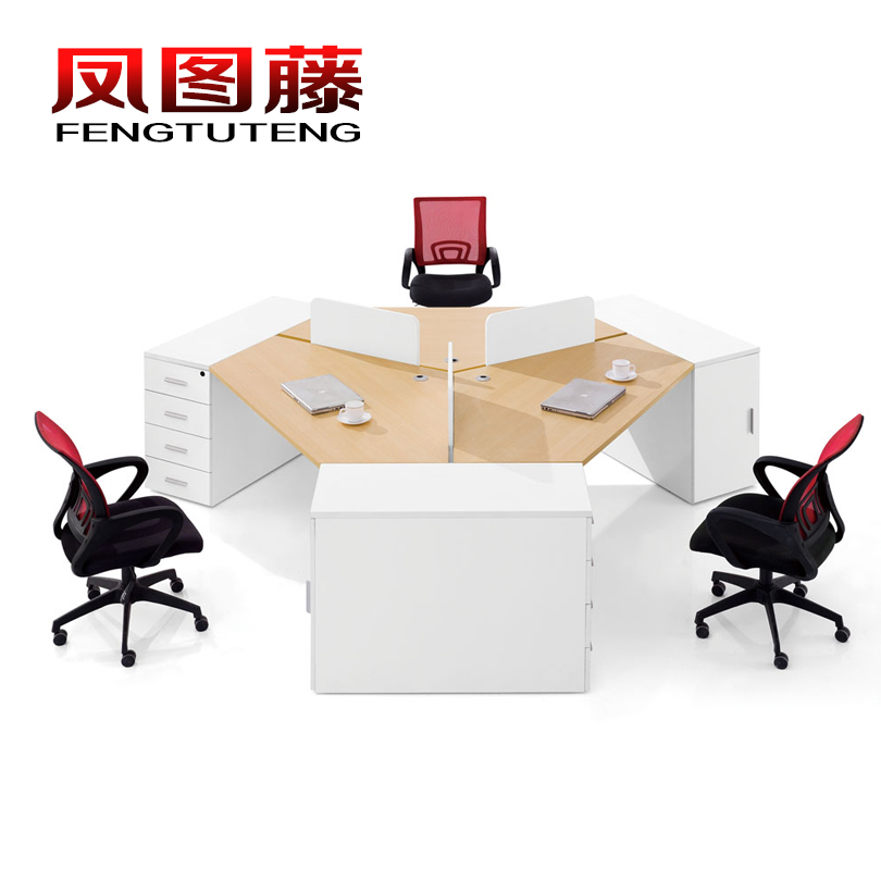 Fengtu rattan genuine office furniture minimalist modern three digit combination screen desk computer desk staff