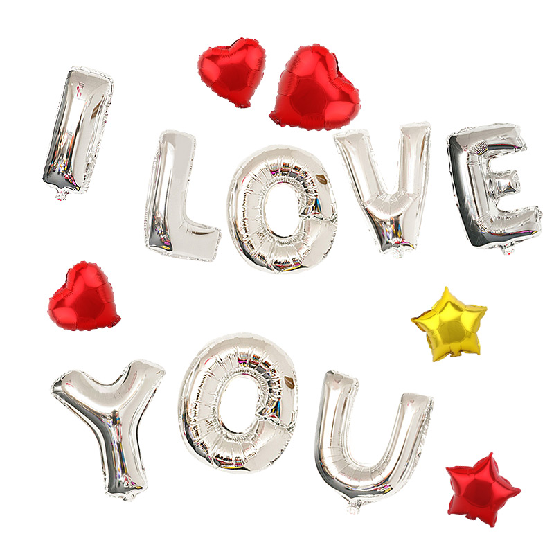 Festive wedding wedding supplies advertising activities trumpet silver letters aluminum balloons birthday party arranged marriage room