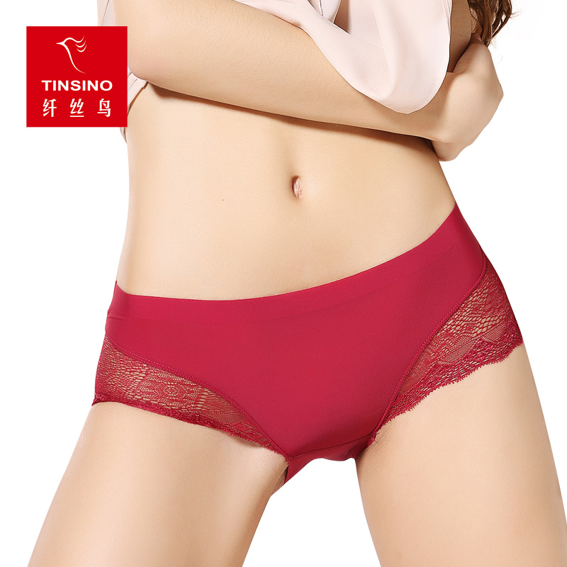 Fibrils birds ms. seamless underwear sexy underwear female summer solid hollow lace fabric breathable waist briefs