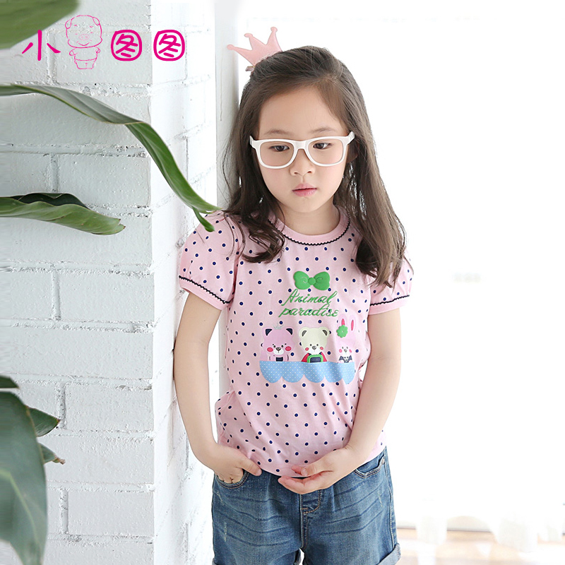 Figure pig children summer cartoon round neck short sleeve t-shirt for girls big virgin korean version of the t-shirt cotton dress shirt tong