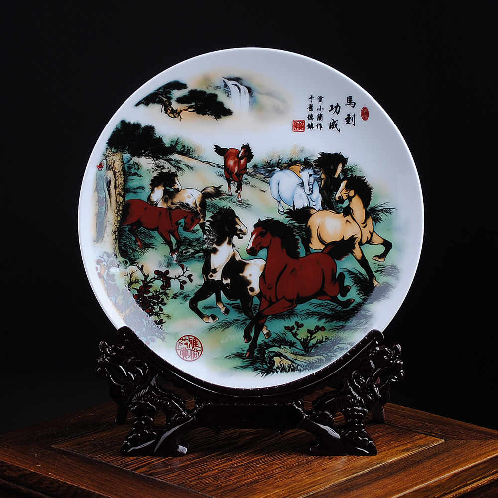 Get Quotations · Find rhyme 8 inch ceramic decorative plates hanging plate pastels madaochenggong modern chinese furniture crafts ornaments : modern decorative plates - pezcame.com