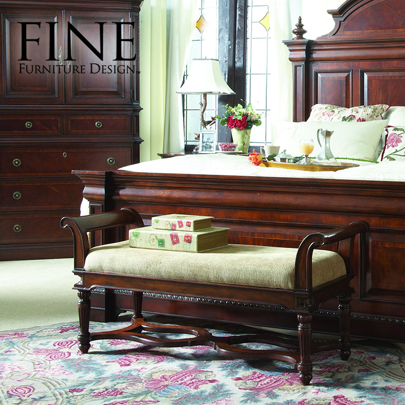 Fine bamboo furniture american classical solid wood frame noblemen upscale furniture bed end stool quality 92 0