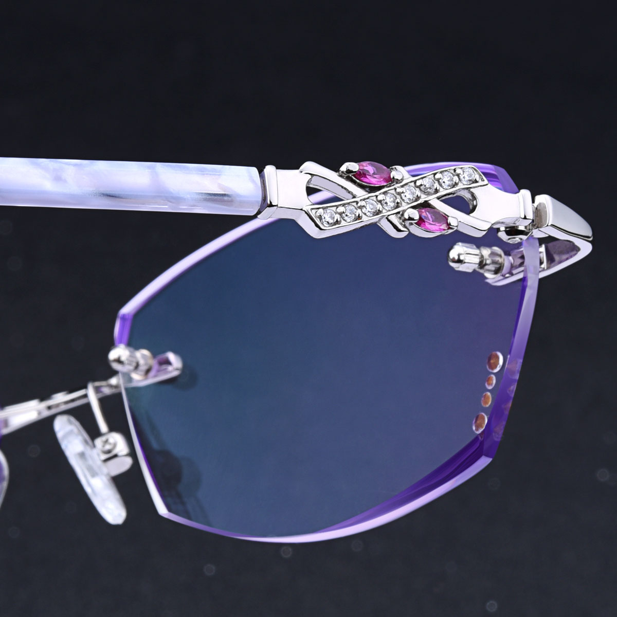 314c87c59141 Get Quotations · Finished chromotropic trimming rimless glasses female  ultralight rimless glasses myopia female elegant glasses frame free shipping