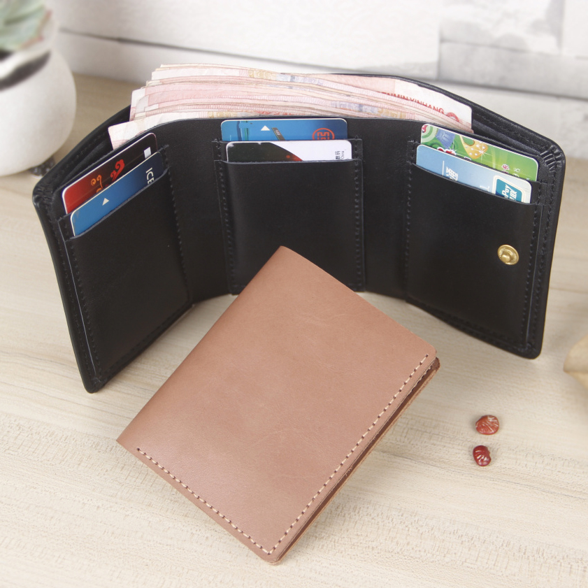First layer of leather wallet men short paragraph wallet folded short paragraph handmade leather cowhide leather money bag man bag wallet folded short paragraph