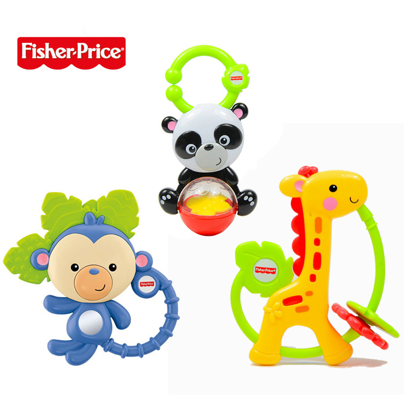 Fisher colorful animal baby rattle baby educational toys for children little panda monkey 0-1-year-old