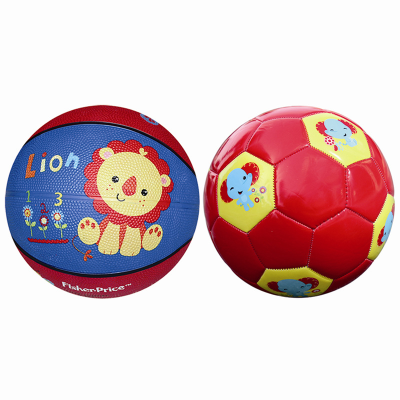 Fisher toys children's toys ball combo (7 inch rubber basketball + children's football send pump)