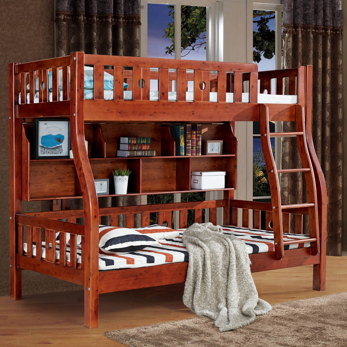 Five packets of home pure cedar wood children step ladder bunk bed picture bed bed bunk bed with bookshelf