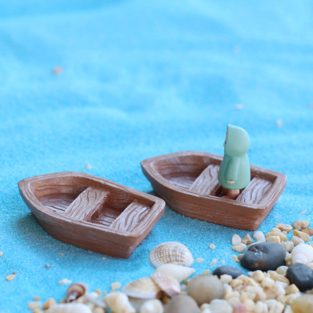 Fleshy potted succulents micro landscape accessories accessorise decoration moss moss plant matter river accessories wooden boat