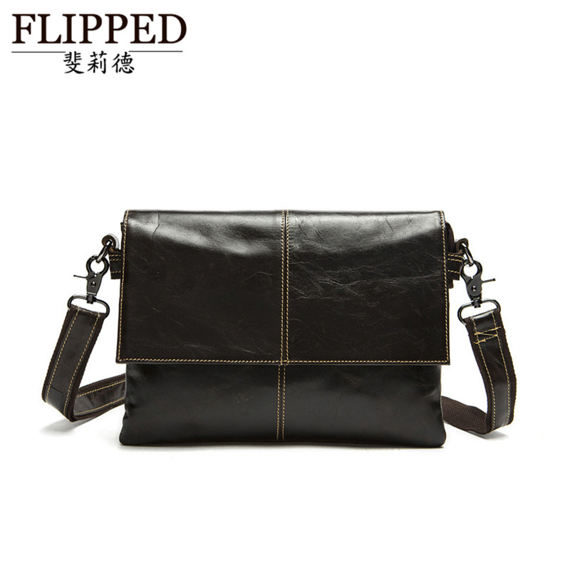 Flippedæède young men's fashion minimalist package cover type european and american first layer of leather messenger bag