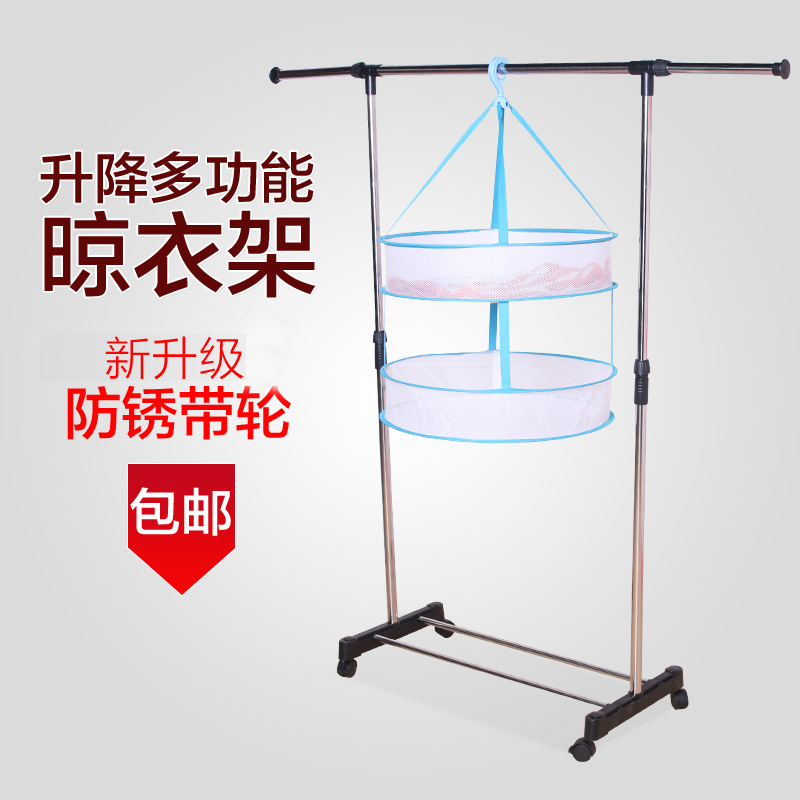 Floor single rod racks lift drying racks folding stainless steel telescopic racks balcony laundry drying clip clip Clothesline pole