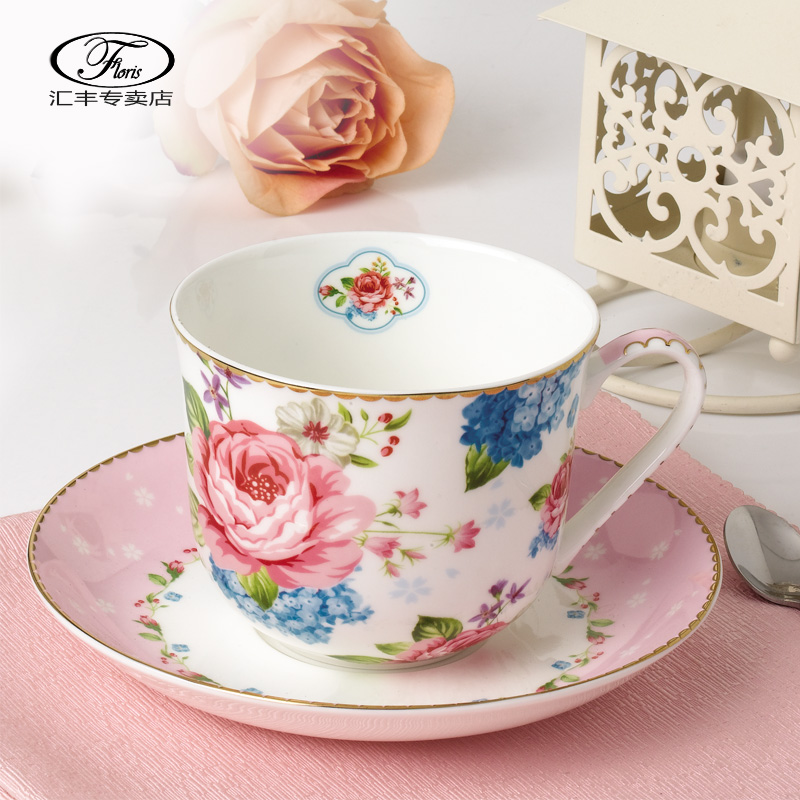 Floris flowers bone china coffee cup dish spoon suit creative ceramic mug breakfast cup milk cups handy cup