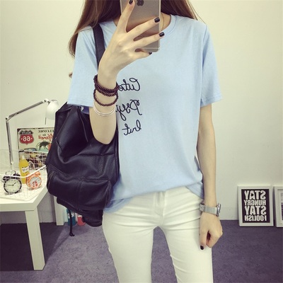 Flower embroidery letters short sleeve t-shirt female 2016 summer students loose on simple korean clothes compassionate shirt casual wave