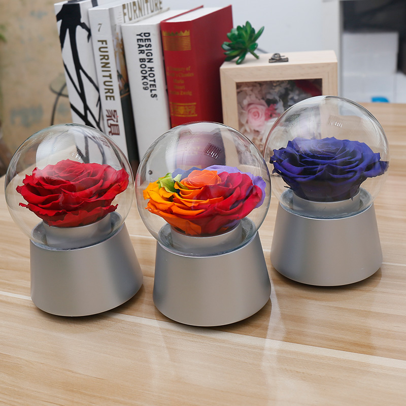 Flower preservation couple rotating music crystal ball colorful rose flower preservation bluelover artificial flowers