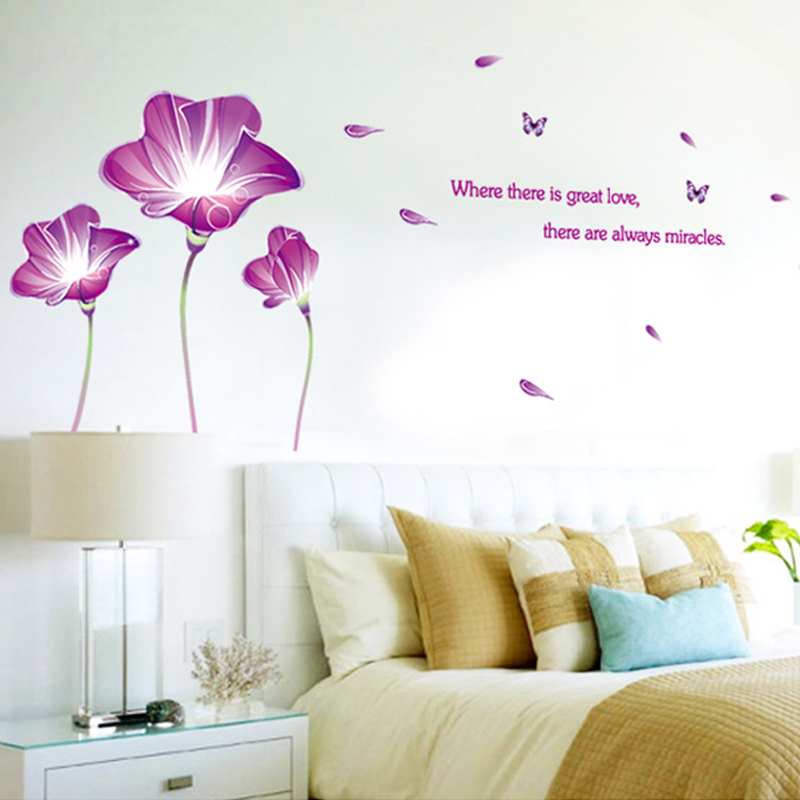 Flower wall stickers bedroom bedside cozy living room sofa tv background decorative stickers removable adhesive wallpaper painting