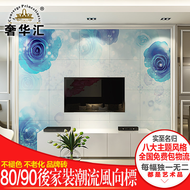 Flowers living room bedroom brick tile backdrop sofa backdrop tv background wall tile mural bluelover
