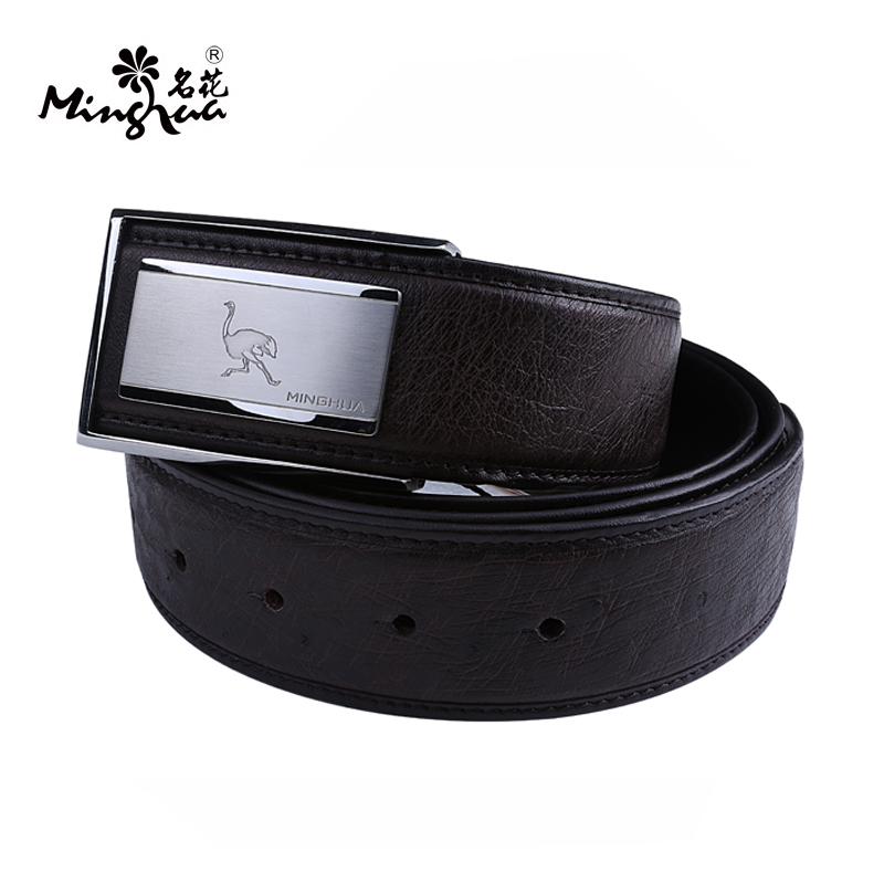 Flowers middleaged upscale real ostrich leather belt men's leather belt male automatic buckle smooth buckle belt counter genuine