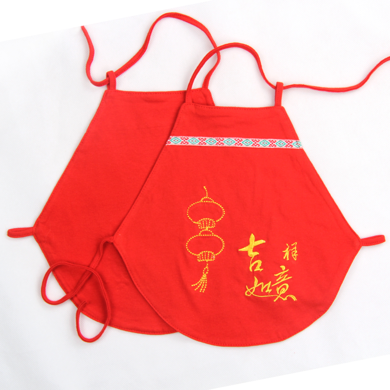 Flowers open double summer cotton apron newborn infant male and female baby even foot care belly big red costume