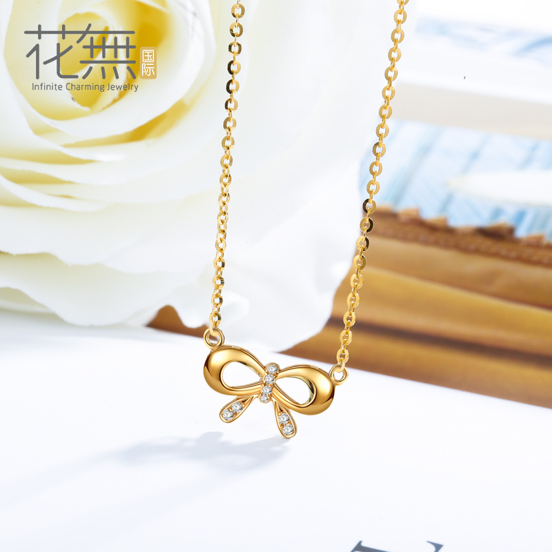 Flowers without international k gold inlay zircon bow necklace female temperament korean k gold pendant clavicle chain