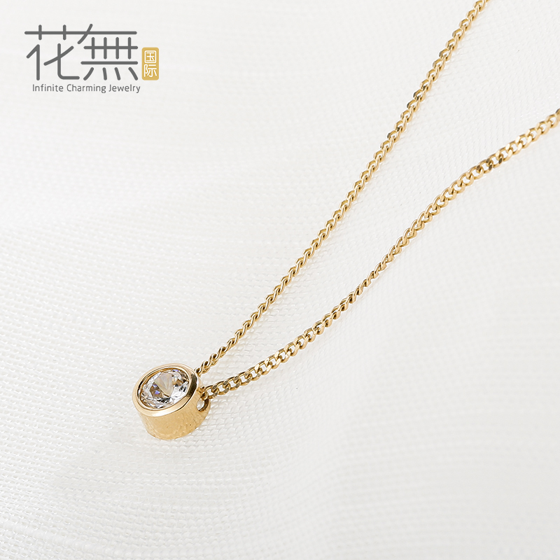 Flowers without international korean k gold necklace female k gold jewelry pendant inlaid zircon clavicle chain necklace female personality