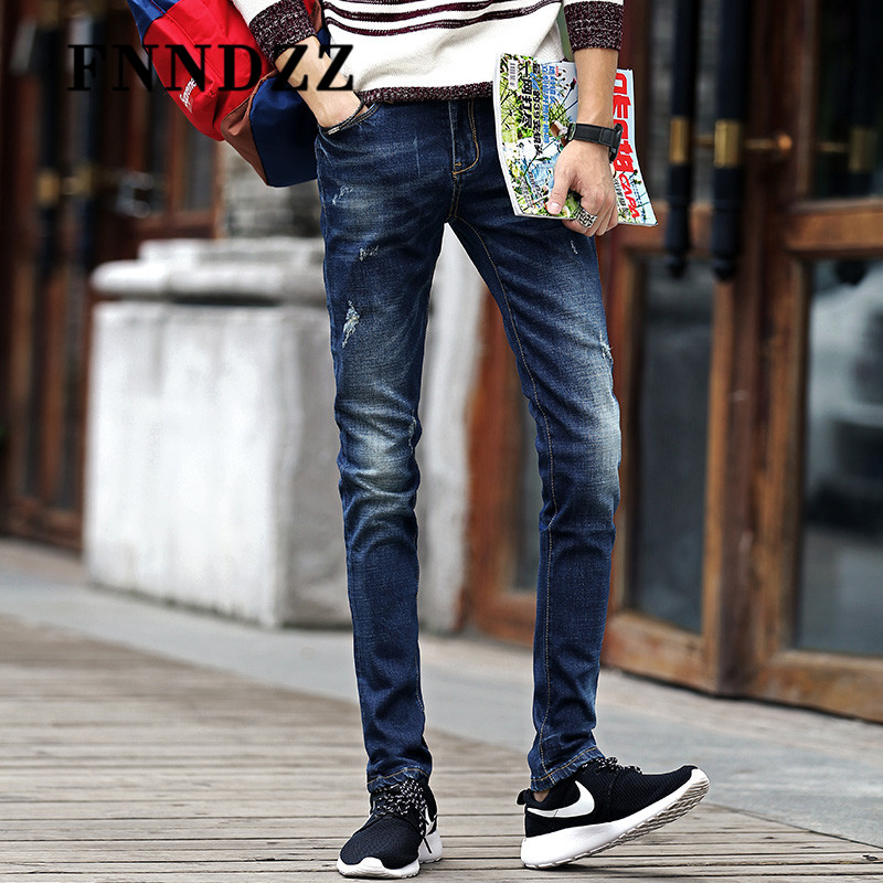 Fnndzz autumn stretch jeans male feet korean version of casual long pants wild slim models influx of men 7288