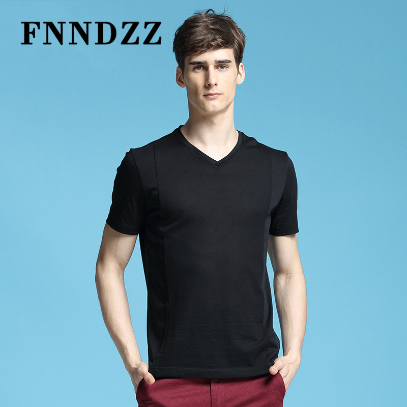FNNDZZ2016 new european and american minimalist men's youth v-neck t-shirt fashion solid color cotton leisure bottoming shirt 9600
