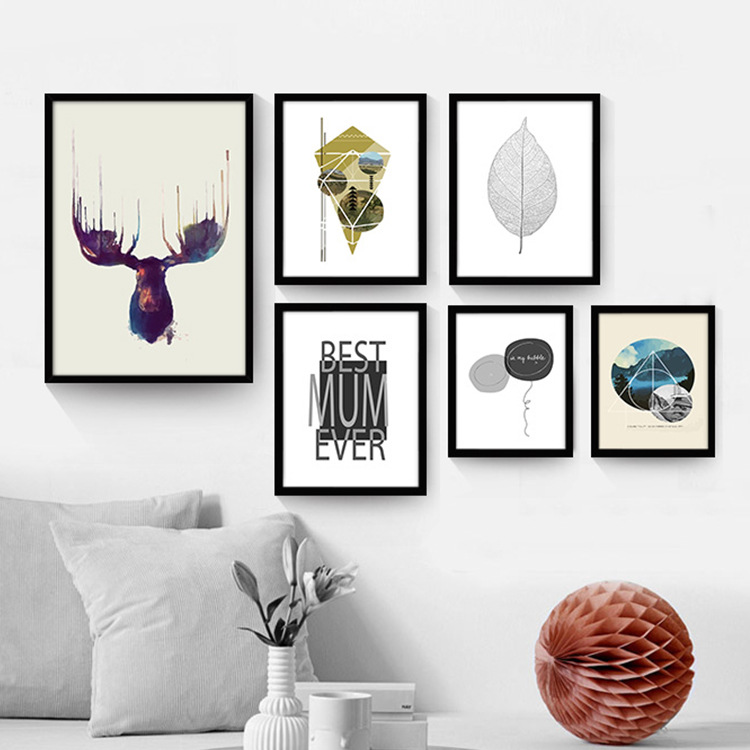 Fort mushrooms deer cartoon paintings decorative painting the living room dining modern minimalist nordic creative wall paintings framed painting murals