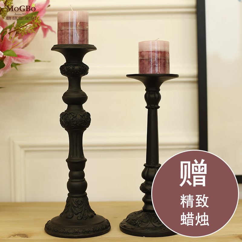 Fort mushrooms resin ornaments candlestick european classical and romantic dining room bathroom black candlestick wedding gift