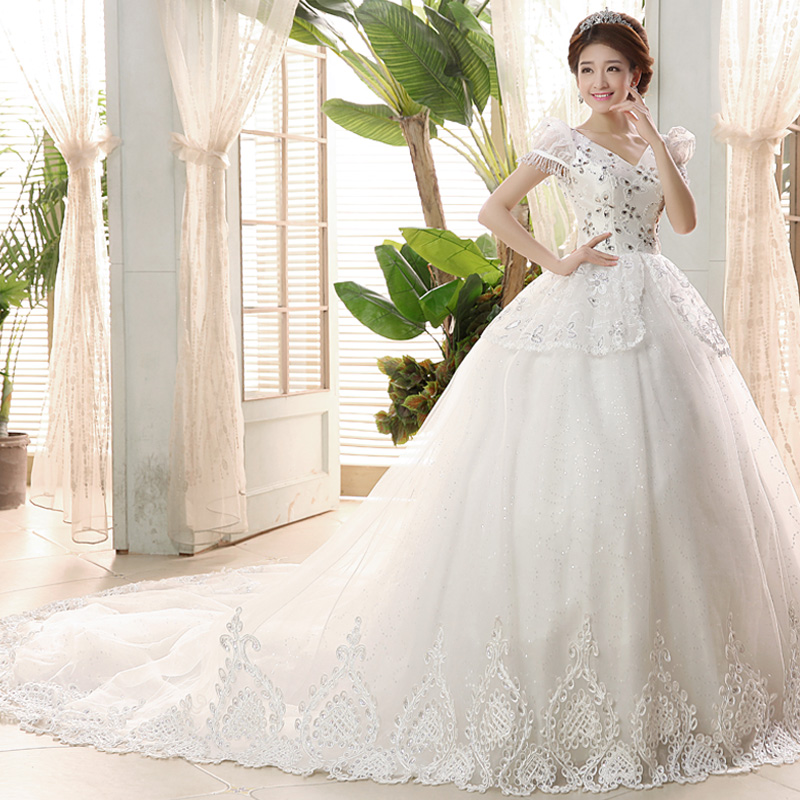 Fortunately good clothes were 2016 new korean version of the bride wedding shoulder v-neck wedding dress trailing sweet
