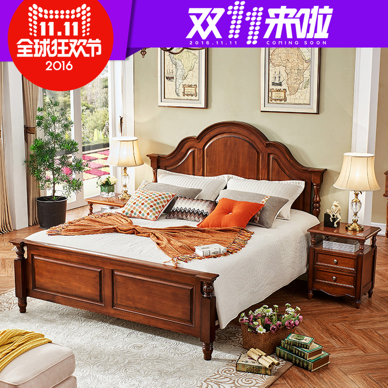 Fortunately mimi bed wood bed double bed 1.8 m 1.5 m bed american bedroom furniture double bed french bed