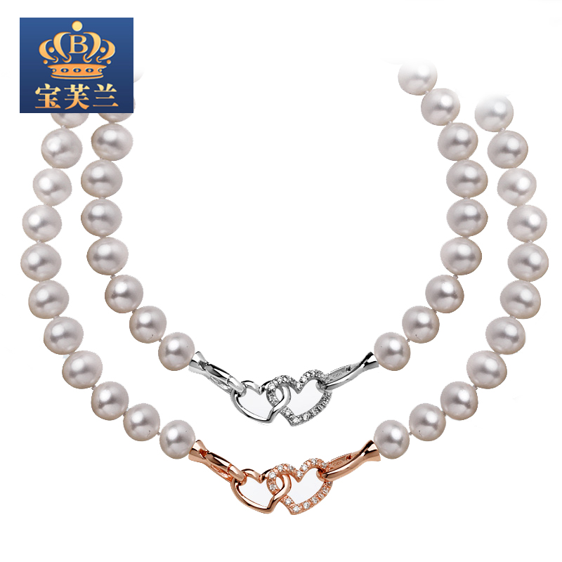Fran [po] freshwater pearl necklace rose gold buckle love 9-10aaa nearly flawless perfect circle + however